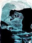 青色にライトアップされた氷の芸術