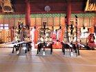 12遷座された三神輿左から本宮・本社・滝尾神社
